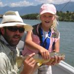 Kids fly fishing the Yellowstone river in Montana